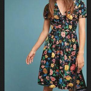 Maeve Anthropologie Bloedel Floral Dress 8